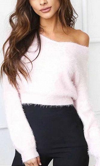 Pink Off Shoulder Fluffy Long Sleeve Knit Jumper | Fashion