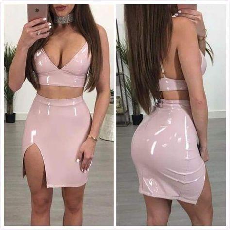 Sexy PU Leather Dress Women Two Piece Dress