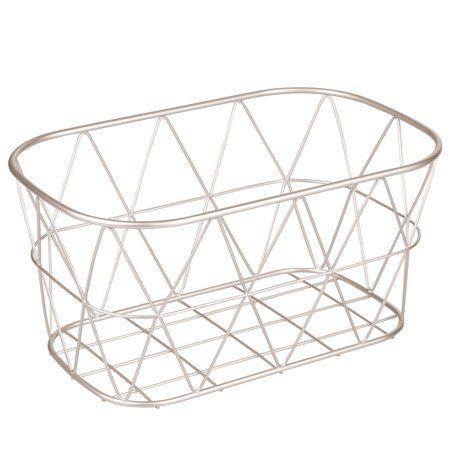 Better Homes Gardens Bathroom Wire Storage Basket Large Satin Wire Storage Basket With Geometric Patternshou In 2020 Wire Basket Storage Wire Storage Storage Baskets