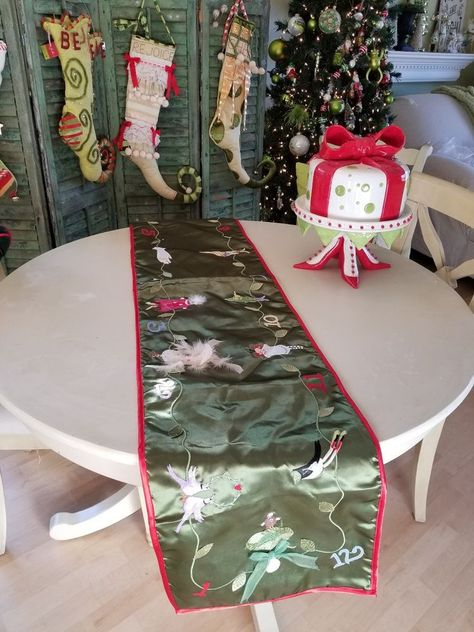 12 Days Of Christmas Table Runner 70 In Personal Collection Christmas Table Runner Christmas Table 12 Days Of Christmas