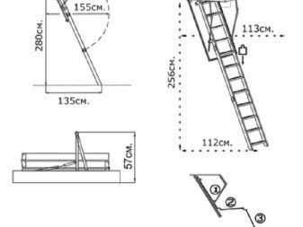 Attic Stairs With A Hatch Manhole To The Attic With A Choosing Equipment To Get Up And Down Stairs Disabled In 2020 Spiral Staircase Plan Kitchen Wall Cabinets Stairs