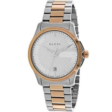 190a243cd82 Gucci Womens G-Timeless YA126447 Quartz Two-tone silver rose gold Band  Silver Dial