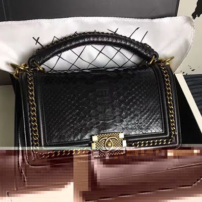 adeac2df Chanel Snake Leather Boy Bag with Top Handle A14041   My ...