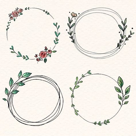 Doodle floral wreath vector collection | premium image by rawpixel.com / Adj