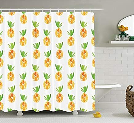 75 Inches Long Orange Green White Ambesonne Pineapple Decor Collection Polyester Fabric Bathroom Shower Curtain Set Pineapples Health Snack Harvest Season Watercolor Painting Effect