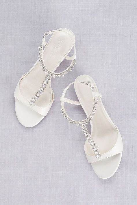 Low Wedge Crystal and Pearl T Strap Sandals Style PAYTON