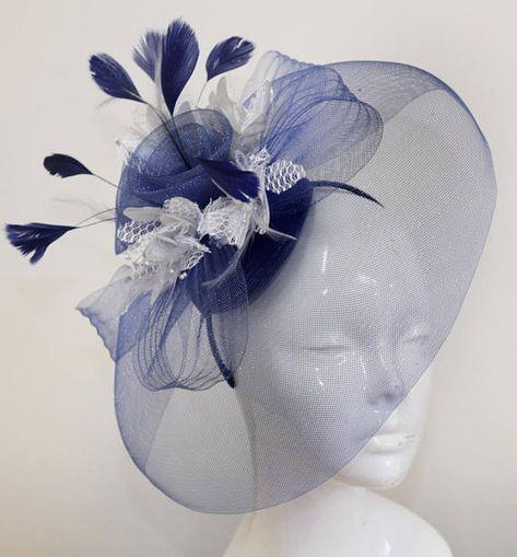 Bleu Marine Crin Bandeau Bandeau Fête de mariage pièce course Ascot
