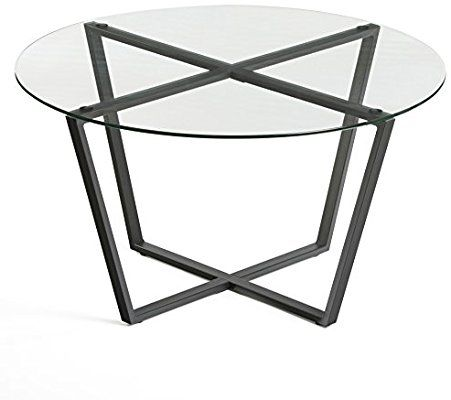 Amazon Com Mango Steam Metro Glass Coffee Table Clear Top Black Base Kitchen Dining Coffee Table Round Glass Coffee Table Round Coffee Table Modern