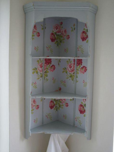 Vintage Corner Shelf Display Unit - Cath Kidston Wallpaper & Laura Ashley