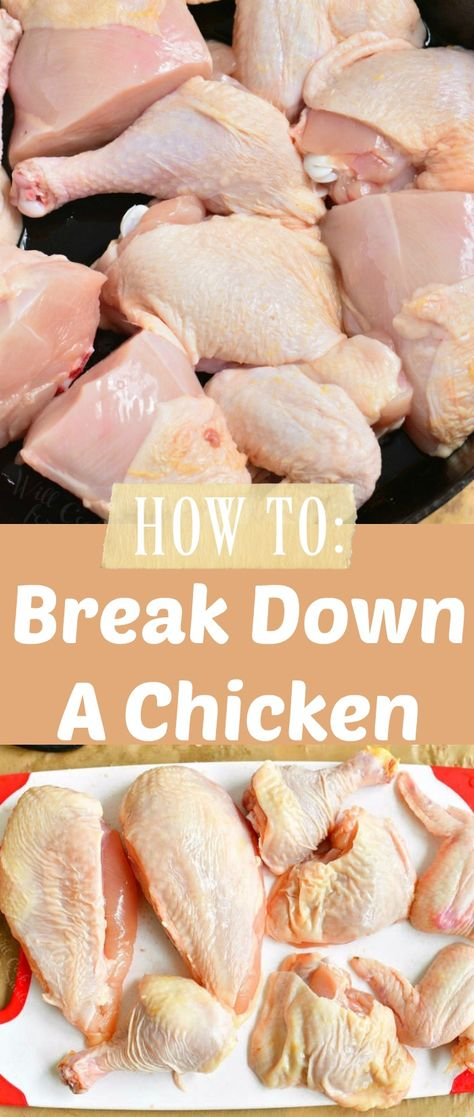 Learn how to easily break down a whole chicken like a pro. It's much easier than you think to break down a chicken and only takes about 10 minutes. This is a great skill to have for your culinaryadventures. #chicken #wholechicken #breakdownchicken #cooking #dinner #easydinner