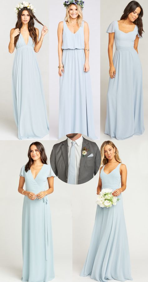 fe7069ed8497 Show Me Your Mumu Steel Blue Stripe Nico Neck Tie and Steel Blue Chiffon  Bridesmaid Dresses