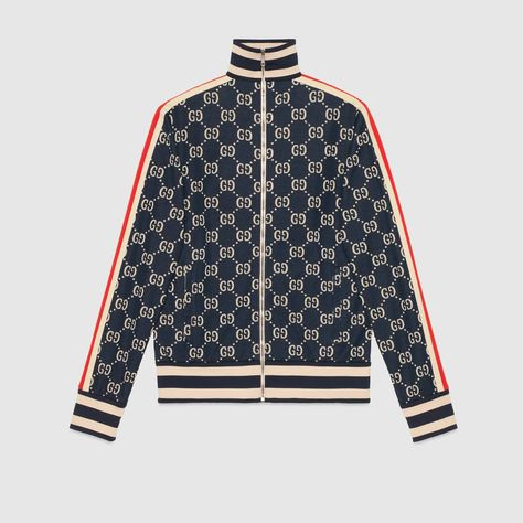 Shop the GG jacquard cotton jacket by Gucci. First used in the 1970s, the GG logo was an evolution of the original Gucci rhombi design from the 1930s, and from then it's been an established symbol of Gucci's heritage. In a shape that is infused with a retro feel, the tracksuit jacket reaches past its athletic origin to a street style that is rooted in the now.