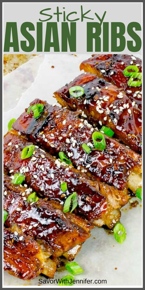 Sticky Asian Ribs - - This Sticky Asian Pork Ribs recipe is baked in the oven to melt-in-your-mouth, sticky, sweet, crispy, spicy perfection. Pork Rib Marinade, Pork Rib Roast, Boneless Pork Ribs, Roast Brisket, Beef Tenderloin, Bbq Pork Ribs, Asian Pork Rib Recipe, Pork Rib Recipes, Game Recipes