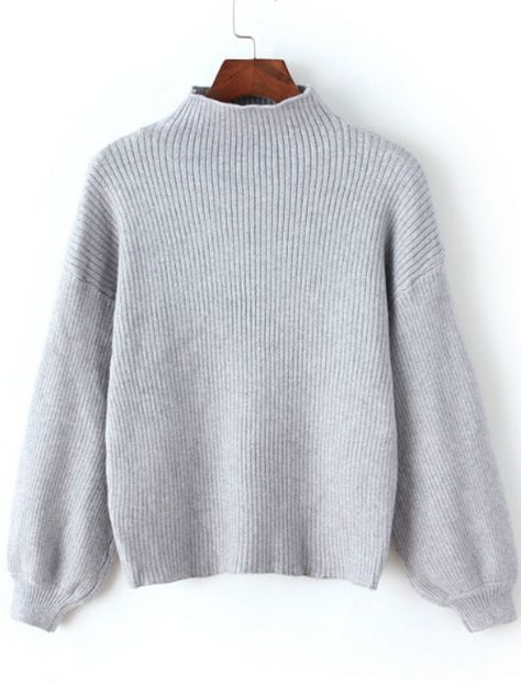 Grey Mock Neck Lantern Sleeve Crop Sweater -SheIn(abaday)