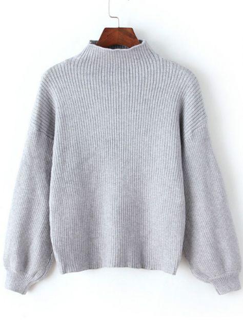 Grey Mock Neck Lantern Sleeve Crop Sweater -SheIn(abaday)