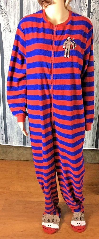 e318bf579db9 Nick Nora SOCK MONKEY STRIPES Fleece One Piece Footed Pajamas PJ ...