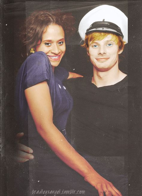 {Angel Coulby and Bradley James   via facebook} How cute are they together?