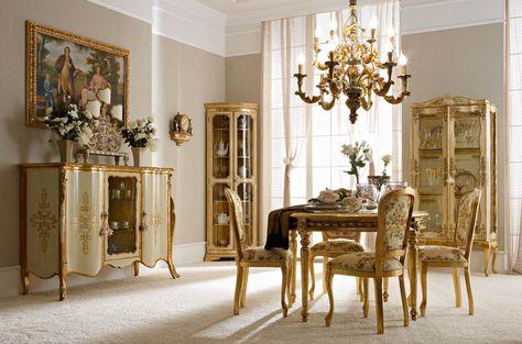 "Italian Luxury Dining Room Wood Furniture. Andrea Fanfani Italy. • 2011 sideboard (L01) cm. 165 x 60 x 120 h. • 210 corner cabinet (L01) cm. 73 x 51 x 200 h. • 226 display cabinet (L02) cm. 100 x 40 x 195 h. • 937 lamp base (L25) cm. 62 x 18 x 73 h. • 5000 ""Famiglia inglese"" painting cm. 120 x 80 h. unframed • 682 table (L04) cm. ø 122 x 80 h. • 715 chair (L04 - S22) cm. 50 x 54 x 99 h. 929/12 chandelier (L05) cm. ø 73 x 90 h."