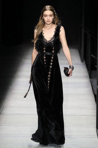 Gigi Hadid walks the runway at Bottega Veneta Fall/Winter 2018 Collection at the American Stock Exchange.