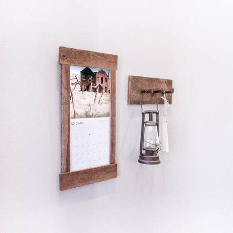 Rustic barn wood calendar frame. Calendar holder. Reclaimed calendar ...