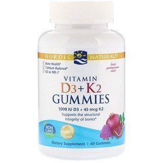 Nordic Naturals Vitamin D3 K2 Gummies Pomegranate 60 Gummies Vitamins Nordic Naturals Natural Vitamins