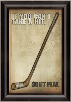 Vintage hockey poster with taped stick and black wood frame. A great addition to a boy's bedroom or playroom.