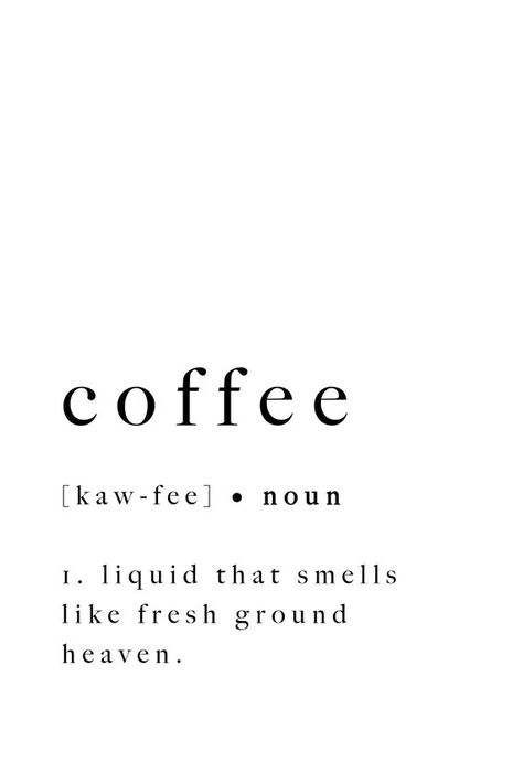 Coffee Print Poster Quote Art Sign Artwork Type Definition   Etsy