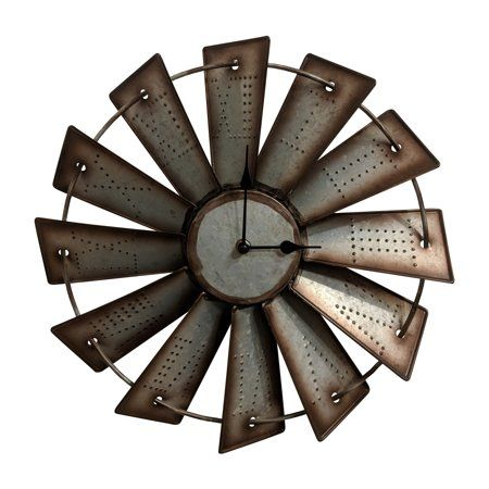 Gianna S Home Rustic Farmhouse Metal Windmill Wall Clock 14 1 2 In Walmart Com Metal Windmill Wall Clock Metal Windmill Windmill Wall Clock