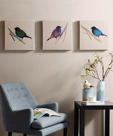 Love This Three Piece Perching Birds Linen Canvas Wrapped Canvas Set On Zulily Zulilyfinds Canvas Wall Art Set Wall Art Sets Canvas Wall Art