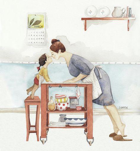 Soosh Drawing - Eskimo Kiss by Soosh