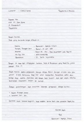 Contoh Surat Lamaran Kerja Tulis Tangan Kata Kata Indah Tulisan Tulisan Tangan