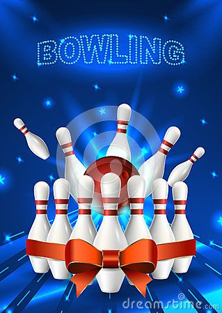 Bowling Night Flyer Template Vector Clip Art Illustration