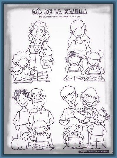 Dibujos De La Familia Para Pintar En Linea 1 Familia Imágenes De