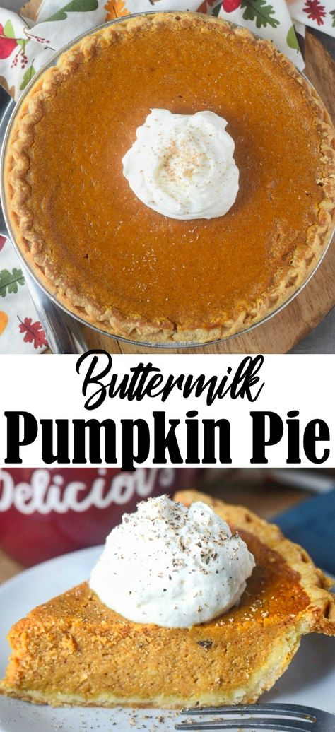 Buttermilk Pumpkin Pie Recipe Holiday Desserts Pumpkin Pie