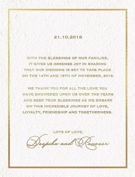 Deepika Ranveer Wedding Date Announced Thatisy Com Deepika Ranveer Wedding Wedding Cards