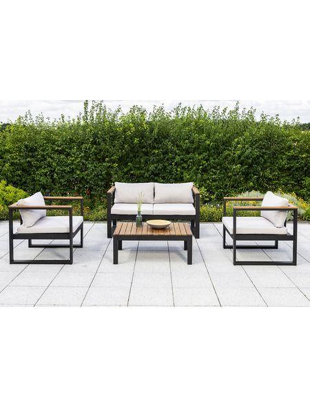 Aus Hochwertigem Akazienholz Und Aluminium Gefertigt Die Materialkombination Macht Die Mobel Z Hagebaubaumarkt Gartensofa Gartenmobel Outdoor Lounge Mobel