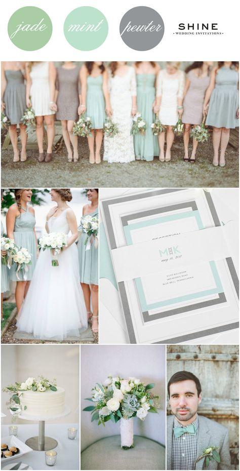 Mint + Soft Greyed Jade + Gray Wedding Inspitation from Shine Wedding Invitations