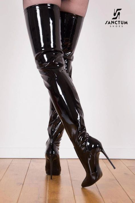 51a250bc337 Black shiny Giaro Elegant 12cm heeled thigh high boots
