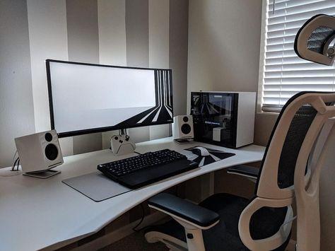 Neutral Colors Enhance Your Workspace With Rosewoods High Grade Desk Accessories Link In Bio Rosewood Setups Computer Setup Gaming Room Setup Desk Setup