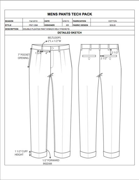 of developing garment spec sheets from scratch and manually calculating apparel size grading, use our Fashion Tech Pack Templates and Sample Specs for Women, Men, Plus Size, and Childrenswear to easily prepare your apparel designs for production!