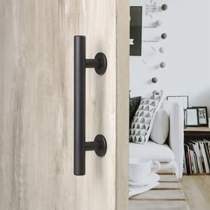 12 Round Barn Door Pull With Flush Plate Latch Matte Black In 2020 Barn Door Handles Barn Door Handles Hardware Door Handles