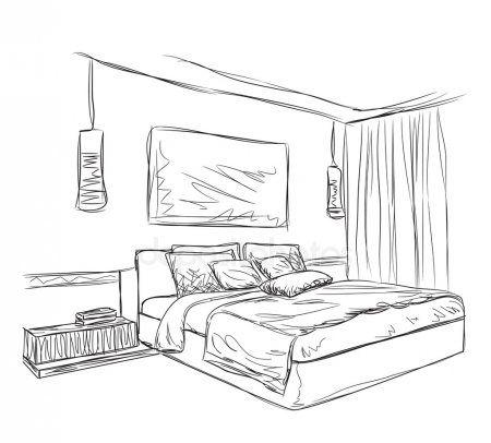 Croquis Interieur Moderne Chambre A Coucher Dessins Muraux De Chambre Chambre A Coucher Interieur Moderne