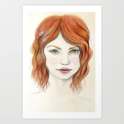Red hair Art Print by Pendientera - $15.60