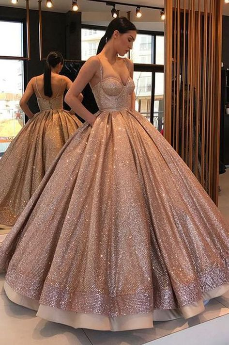 Shiny Spaghetti Strap Ball Gown Sweetheart Prom Dress, Floor Length Sequin Party Dress N1334 #shiny #spaghettistraps #ballgown #promdress #sequin #quinceaneradress