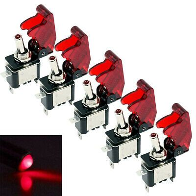 5 X 12V 20A Red LED Light Rocker Toggle Switch SPST ON//OFF Car Truck