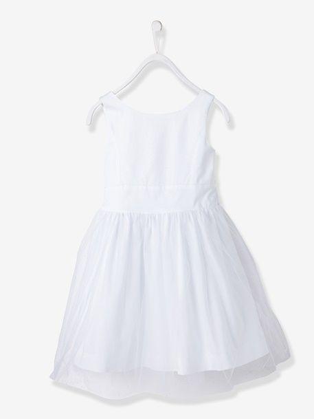 Vestido De Cerimónia Em Cetim E Tule Para Menina Bege