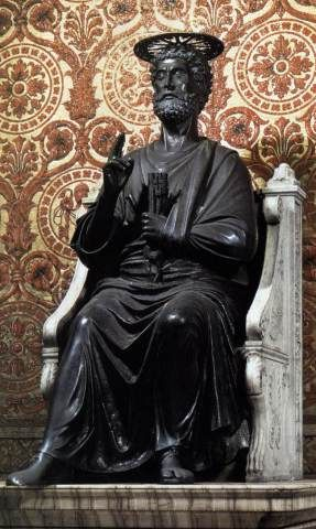 Feast Of The Chair Of St Peter Cathedra Petri 22 February The Chair Is The Cathedra Of St Peter S Basilica Cathedra Is Latin For St Peter Statue Catholic