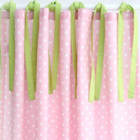 Hochbettvorhang Punkte rosa mit Schlaufen