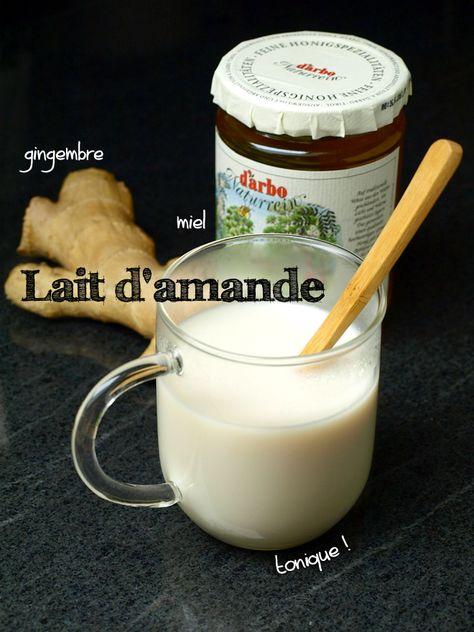 Lait d'amande chaud au gingembre et au miel (rhume, nausées, maux de tête)