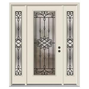 62 In X 80 In Full Lite Sanibel Primed Steel Prehung Left Hand Inswing Front Door With Sidelites Jeld Wen Steel Entry Doors Entry Door With Sidelights